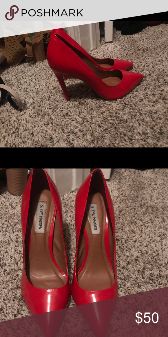 3a711d37e8a6 Steve Madden all red heels Size 8 Very comfortable Worn once for prom Steve  Madden Shoes