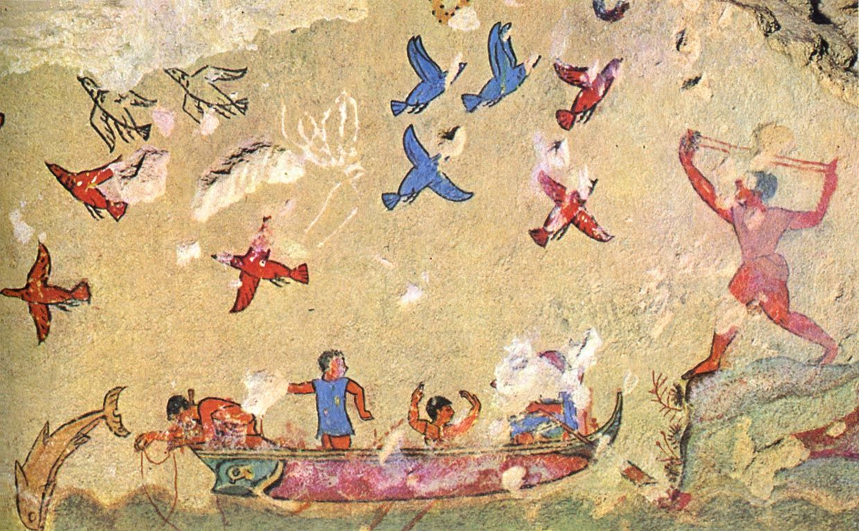Hunting and Fishing; wall painting in the Tomb of Hunting and ...