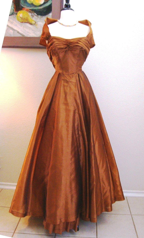 Bronze Beauty 40s 50s Vintage Ball Gown Cocktail Dress Silk ...