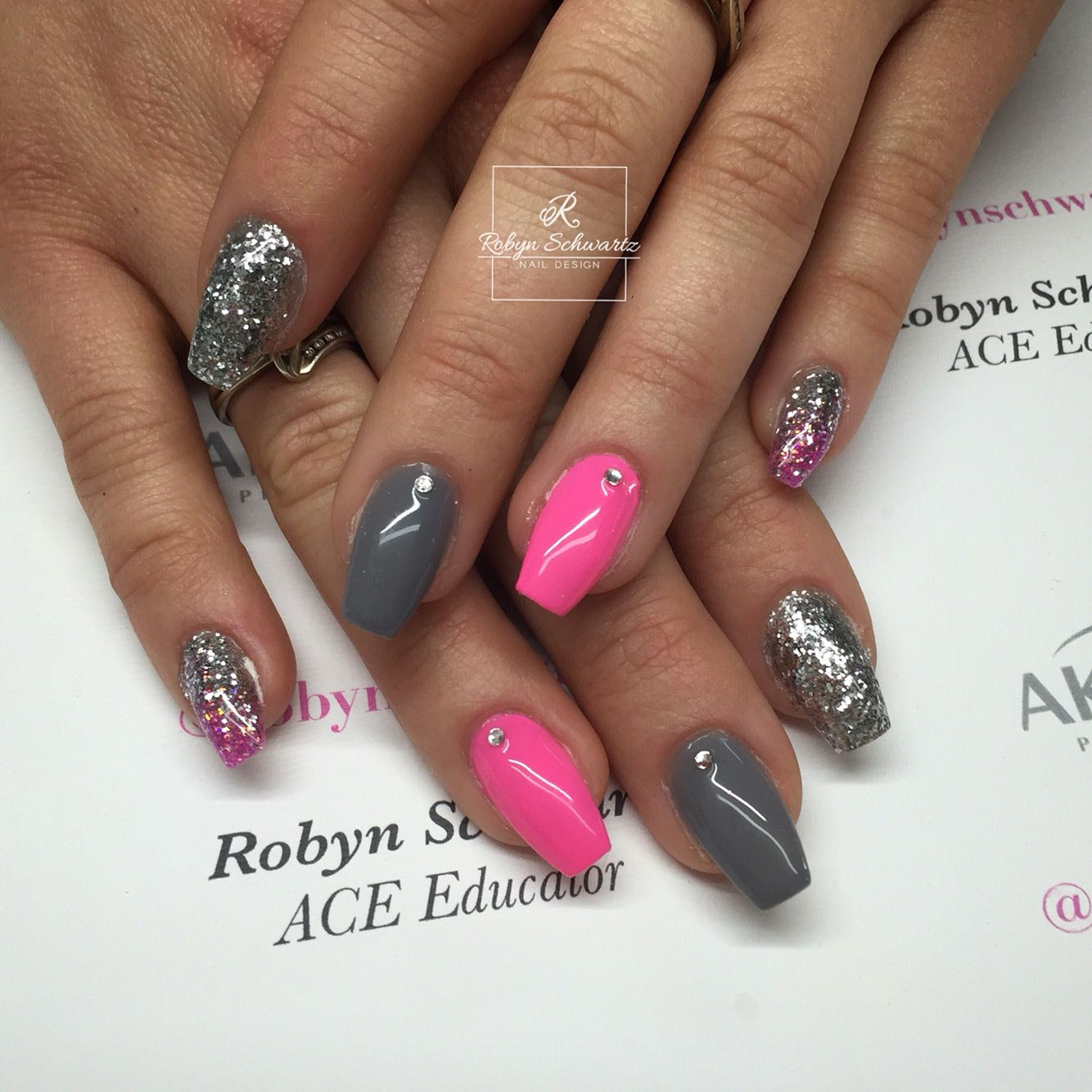 neon pink and grey coffin gel nails blingy nails. Black Bedroom Furniture Sets. Home Design Ideas