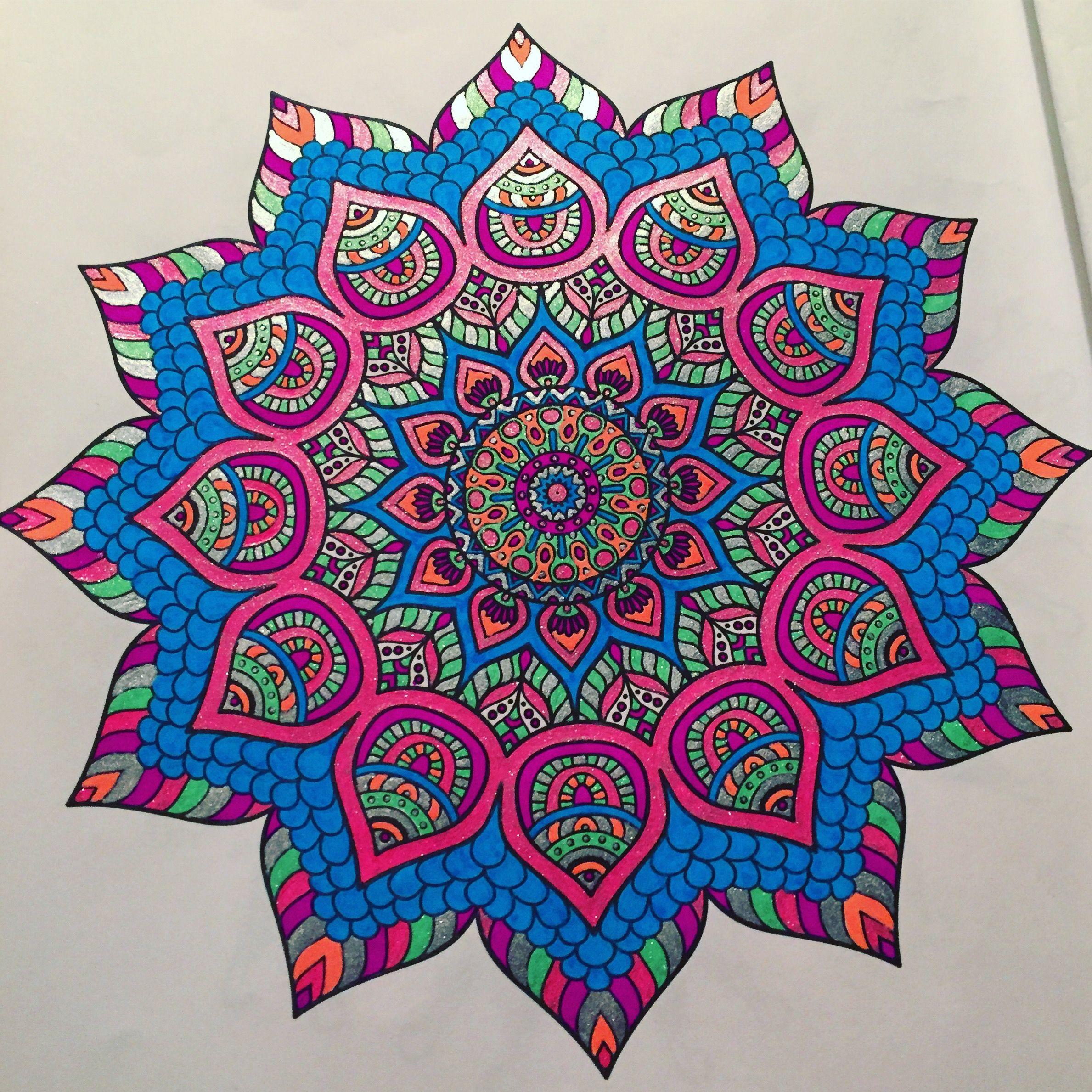 Finished mandala by Patricia Gary with glitter gel pens  Mandala
