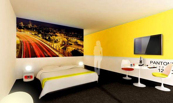 3d room interior design of pantone hotel in brussels - Yellow Bedroom Design