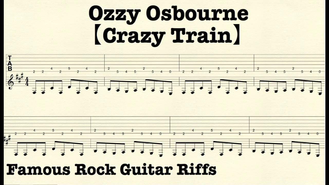 Famous Rock Guitar Riffs With Tabscrazy Trainozzyosbourne