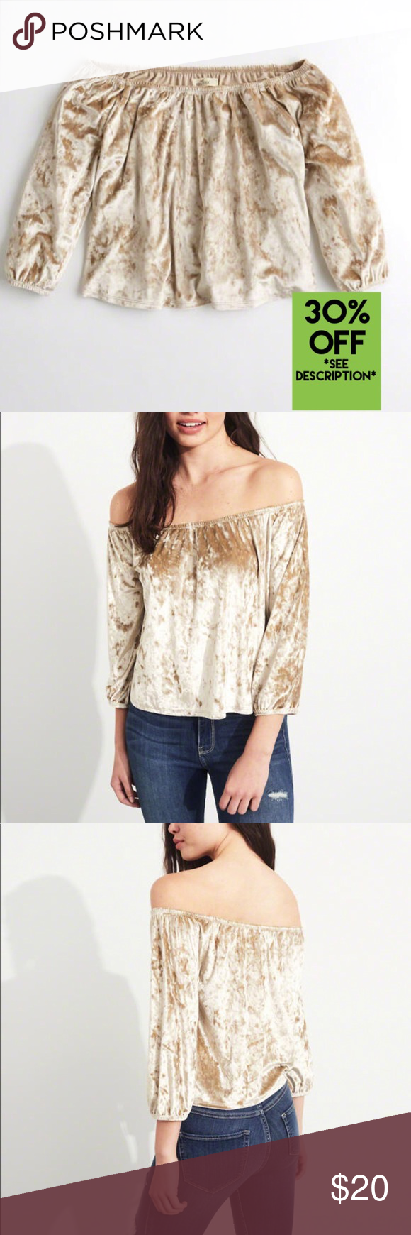 9e2fff4052d Gold Hollister Velvet Off-The shoulder Top (NWT) Gold Velvet Off-The Shoulder  Top (NWT) Hollister Small. ‼️30% Off When you bundle with another Hollister  ...
