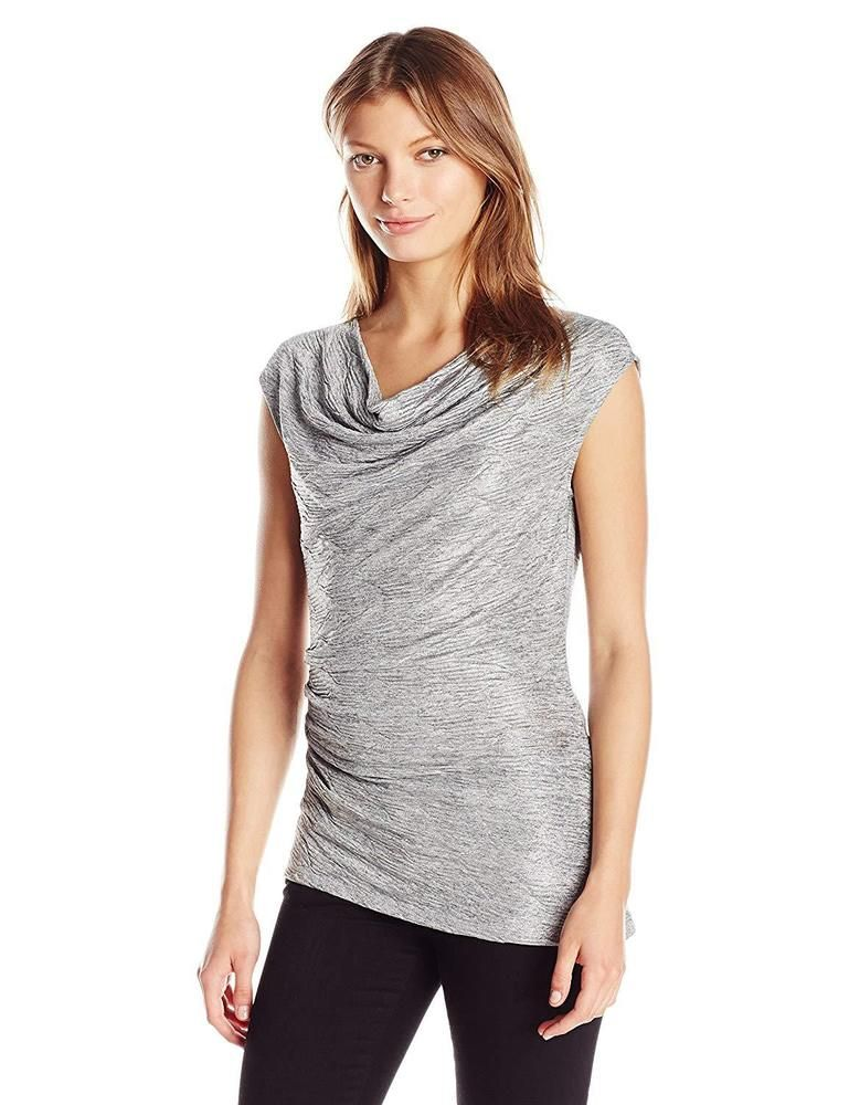 00d42440e21f21 Calvin Klein Womens Ruched Sleeveless Cowl-Neck Top (Tin Medium) #fashion  #clothing #shoes #accessories #womensclothing #tops (ebay link)