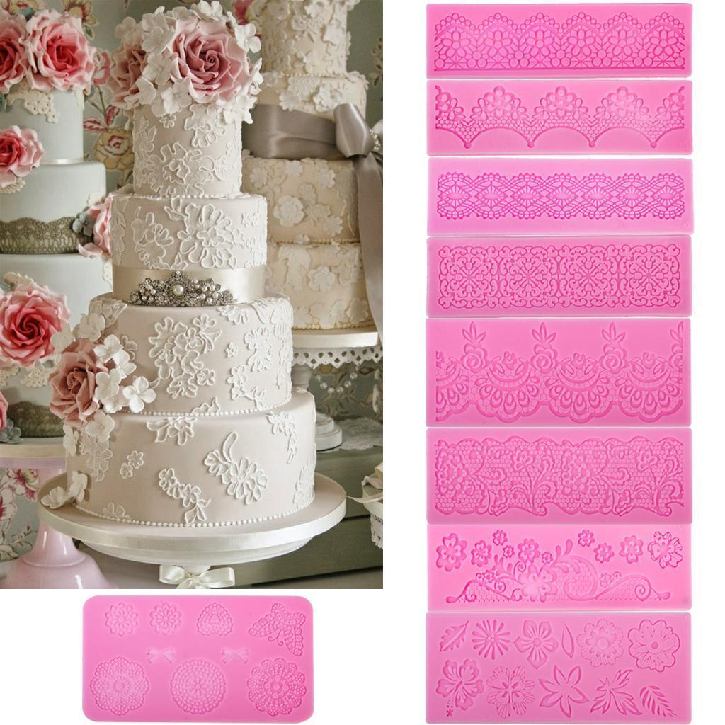 Vintage Style Silicone Mould Fondant Icing Cake Lace Flower Swirl Border Decor Y