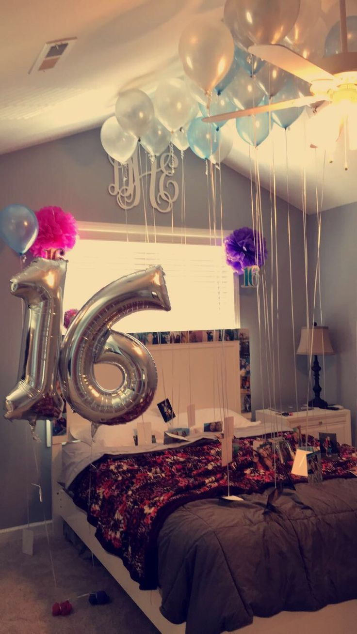 16th birthday surprise idea pinteres for Bed decoration anniversary