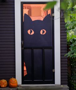 diy halloween decorations create this scaredy cat door and find more ideas to - Homemade Halloween Door Decorations