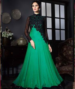 8c418c0665d Buy Green Satin Silk Party Wear Gown 71839 online at lowest price from vast  collection at Indianclothstore.com.