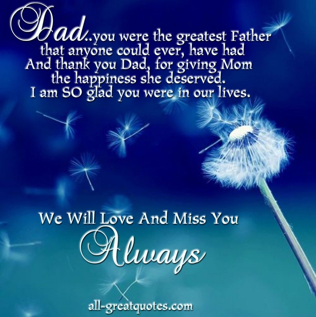 We Will Love And Miss You Always In Loving Memory Cards For Dad – Dad Birthday Card Verses