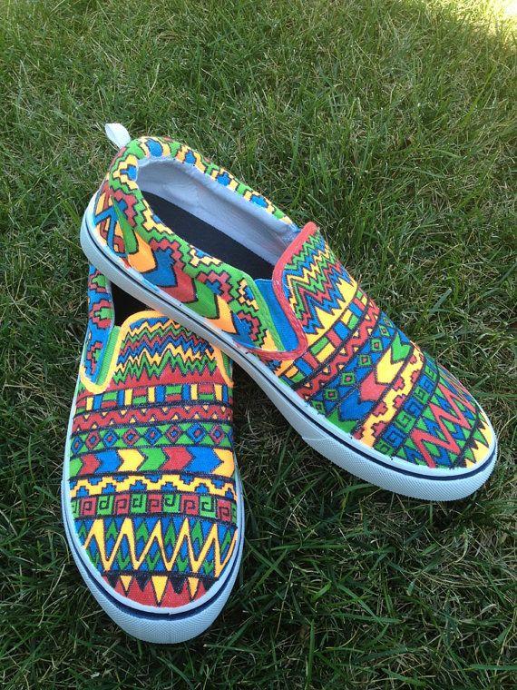 Custom Canvas Tribal Print shoes Vans, Toms, Canvas