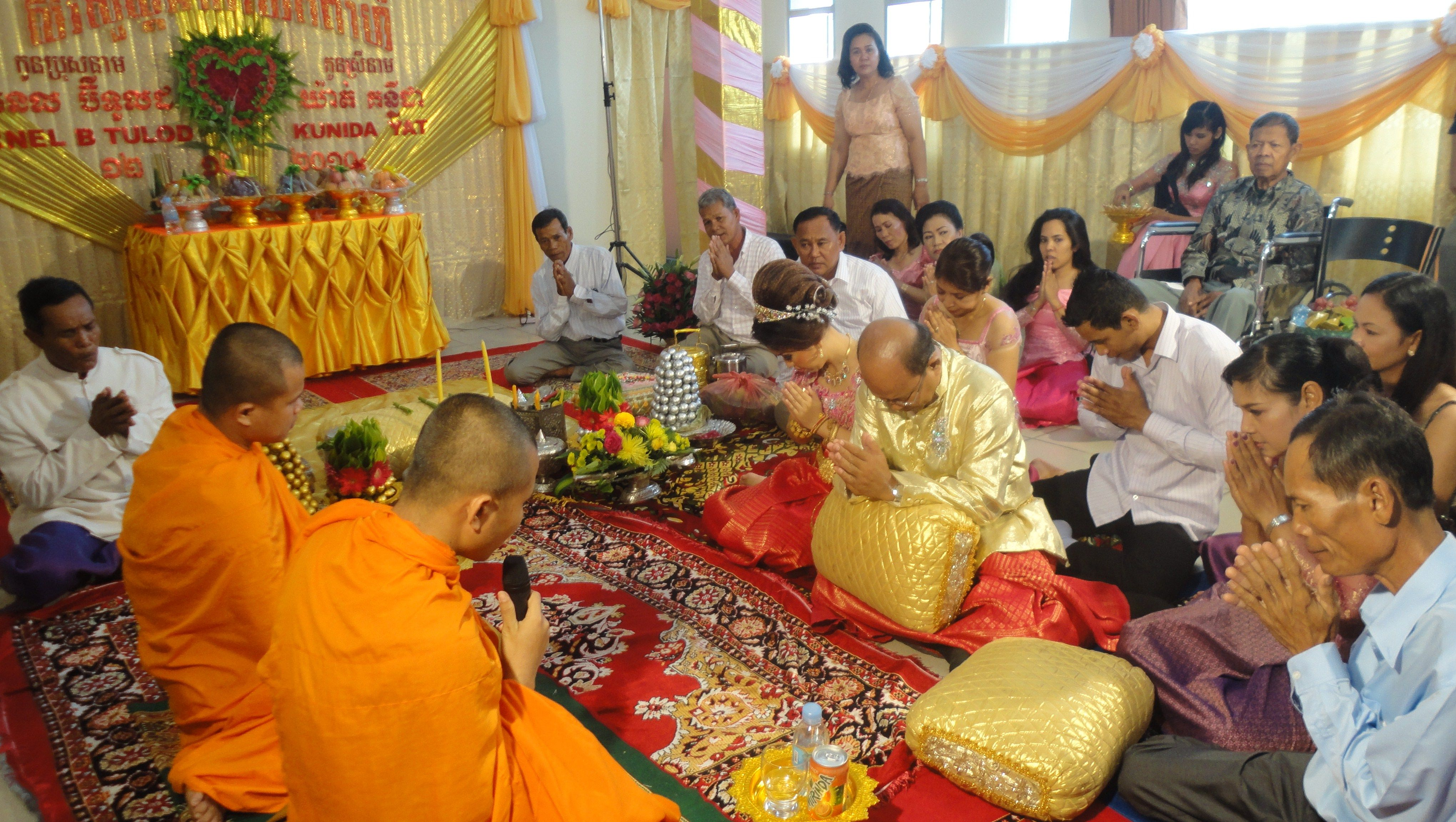 Receive Blessing From The Monks