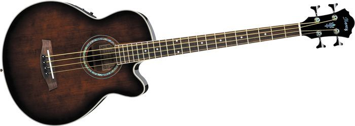 Ibanez Aeb10e Acoustic Electric Bass Guitar With Onboard Tuner Acoustic Electric Guitar Electric Bass