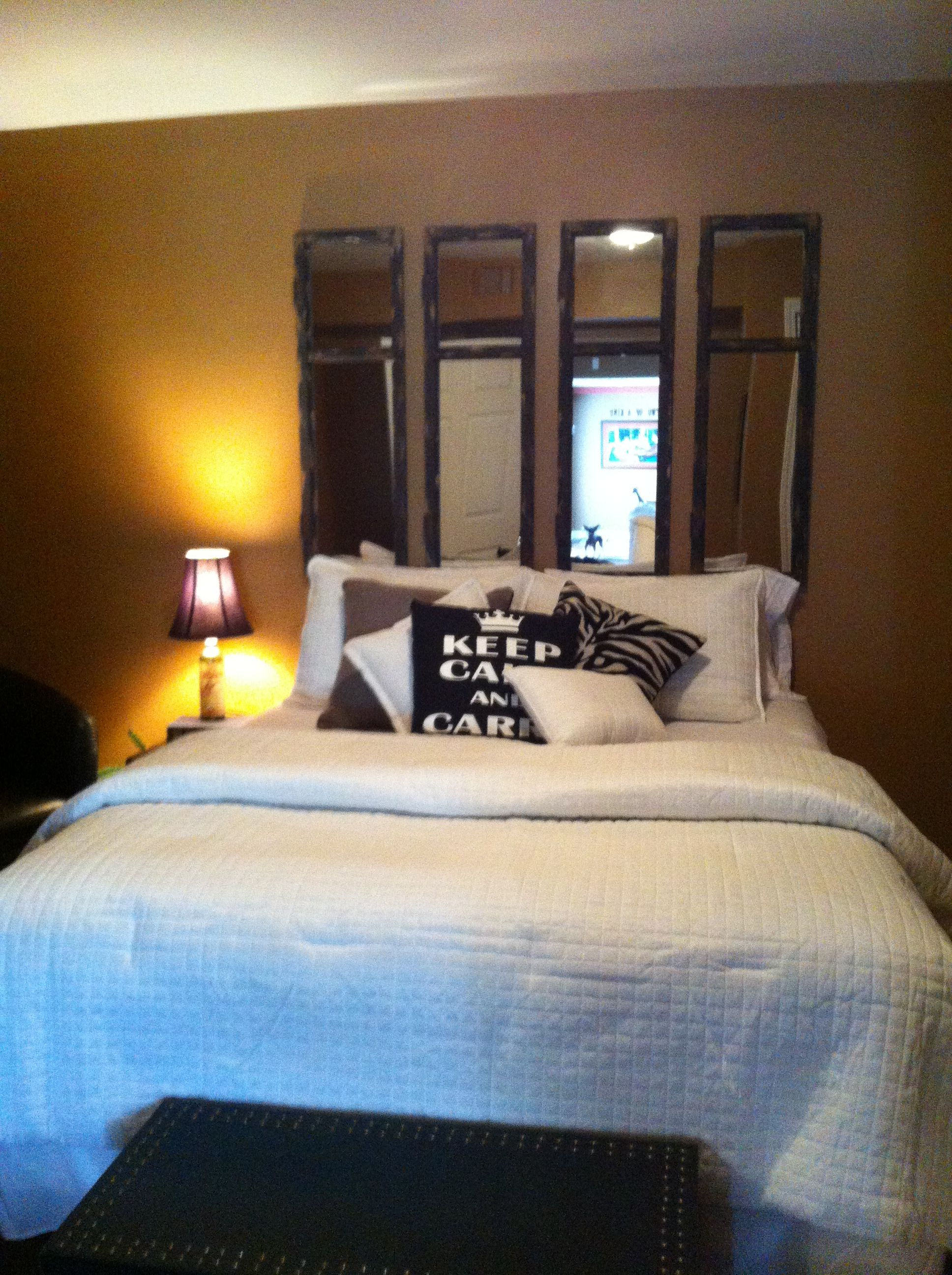 My guest bedroom idea mirrored headboard my home in - Bedroom sets with mirror headboard ...
