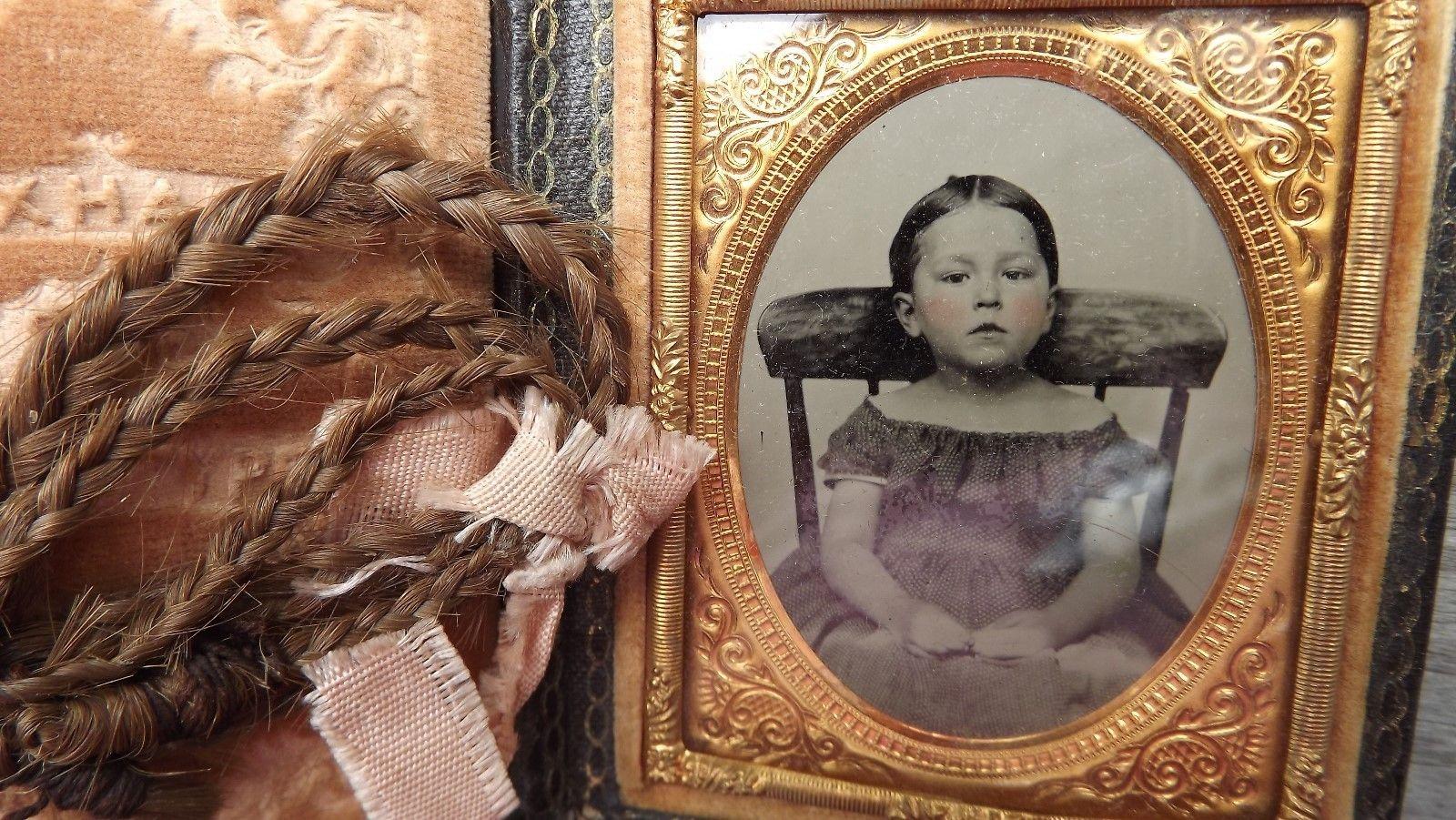 Ambrotype Little Girl Braided Hair Pink Bow | eBay