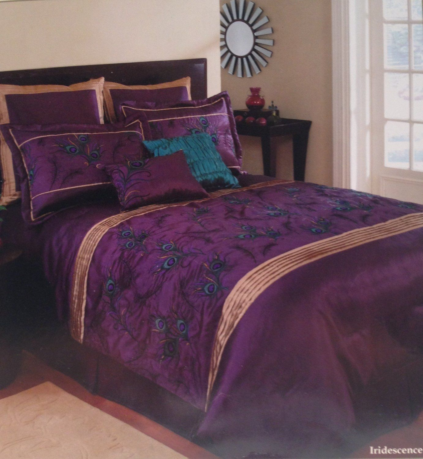 Extreme linen iridescence plum peacock 8 piece embroidered cal king comforter set - Peacock bedspreads ...