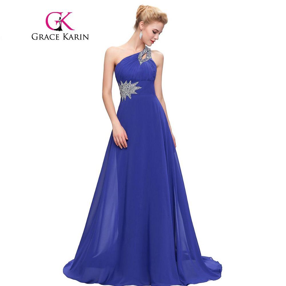 fef54c438 Encontrar Más Vestidos de dama de honor Información acerca de Grace karin  rosa púrpura verde menta de dama de honor vestidos de un hombro piso  longitud gasa ...