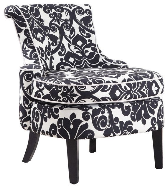 Diana Swoop Back, Cap Arm Accent Chair   Black And White Floral Chenille  Fabricu2026