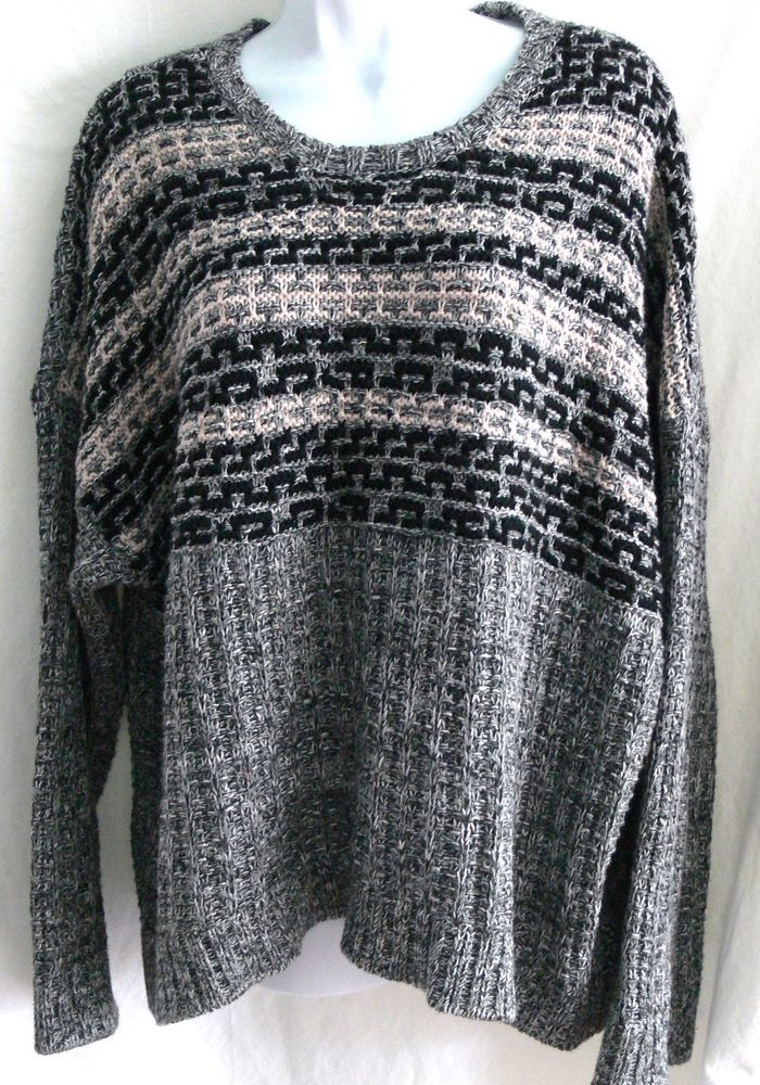 Victoria's Secret Black Gray Pink Multi-Knit Style Cotton Sweater Size Large L #VictoriasSecret #Sweater #casual