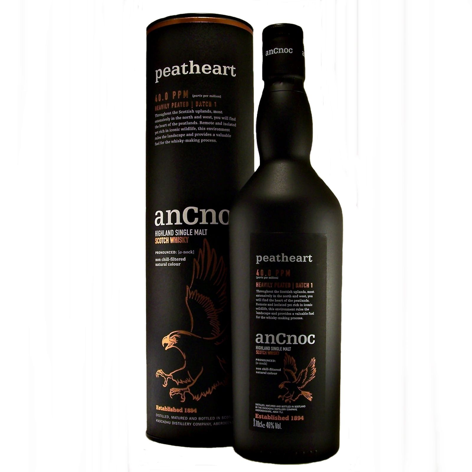 AnCnoc Peatheart Single Malt Whisky Batch 1 Knockdhu distillery available to buy online at specialist whisky shop whiskys.co.uk Stamford Bridge York