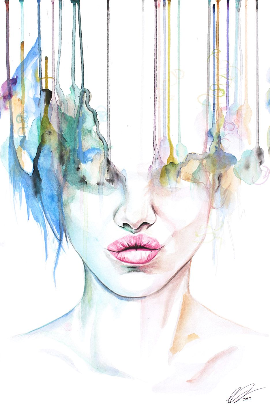 Kiss My A Contemporary Watercolor Portrait Art By