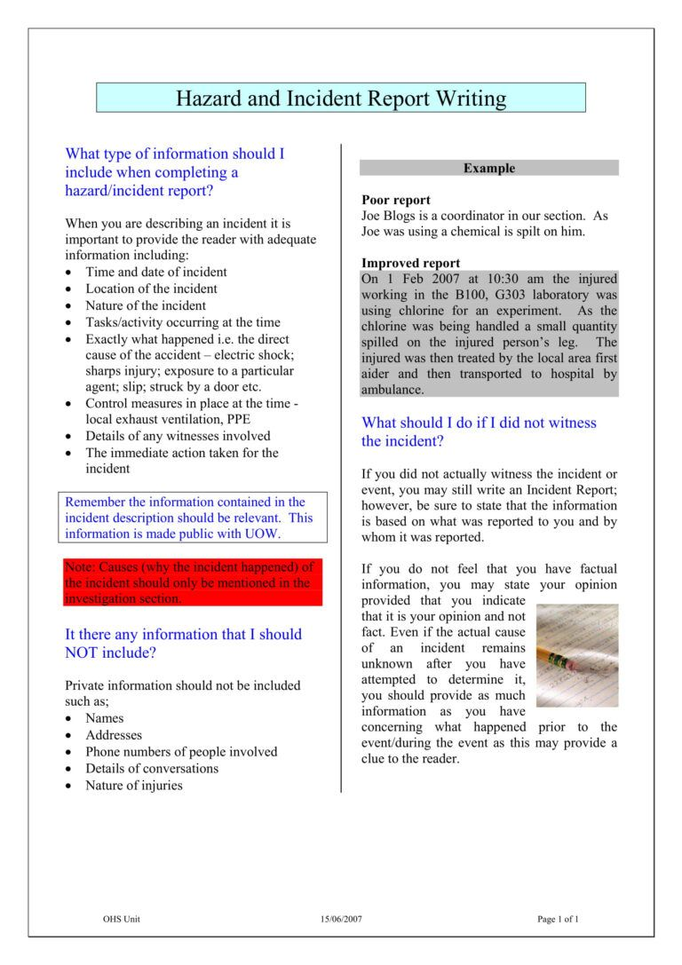 How To Write An Incident Report - arxiusarquitectura For Ohs Monthly Report Template