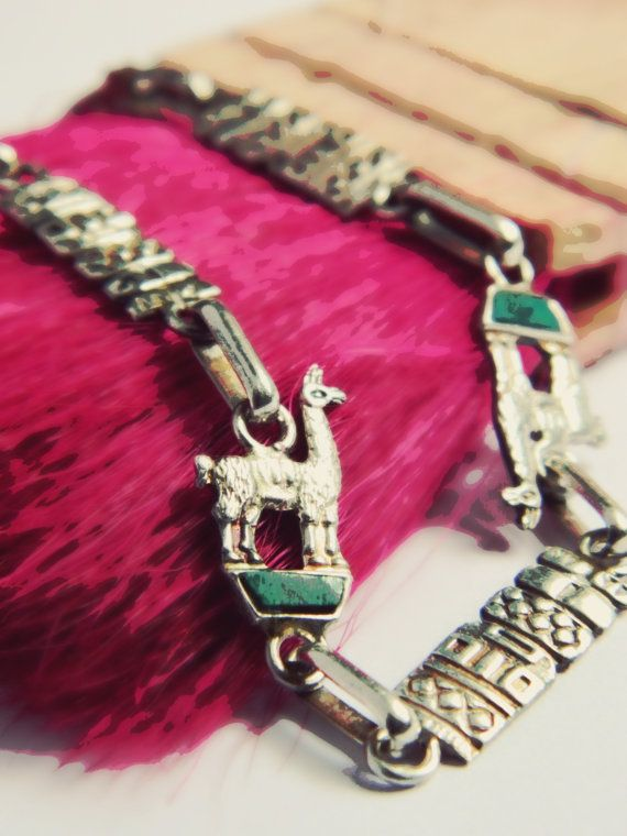 950 Silver Llama Bracelet with Turquoise - Vintage Peru