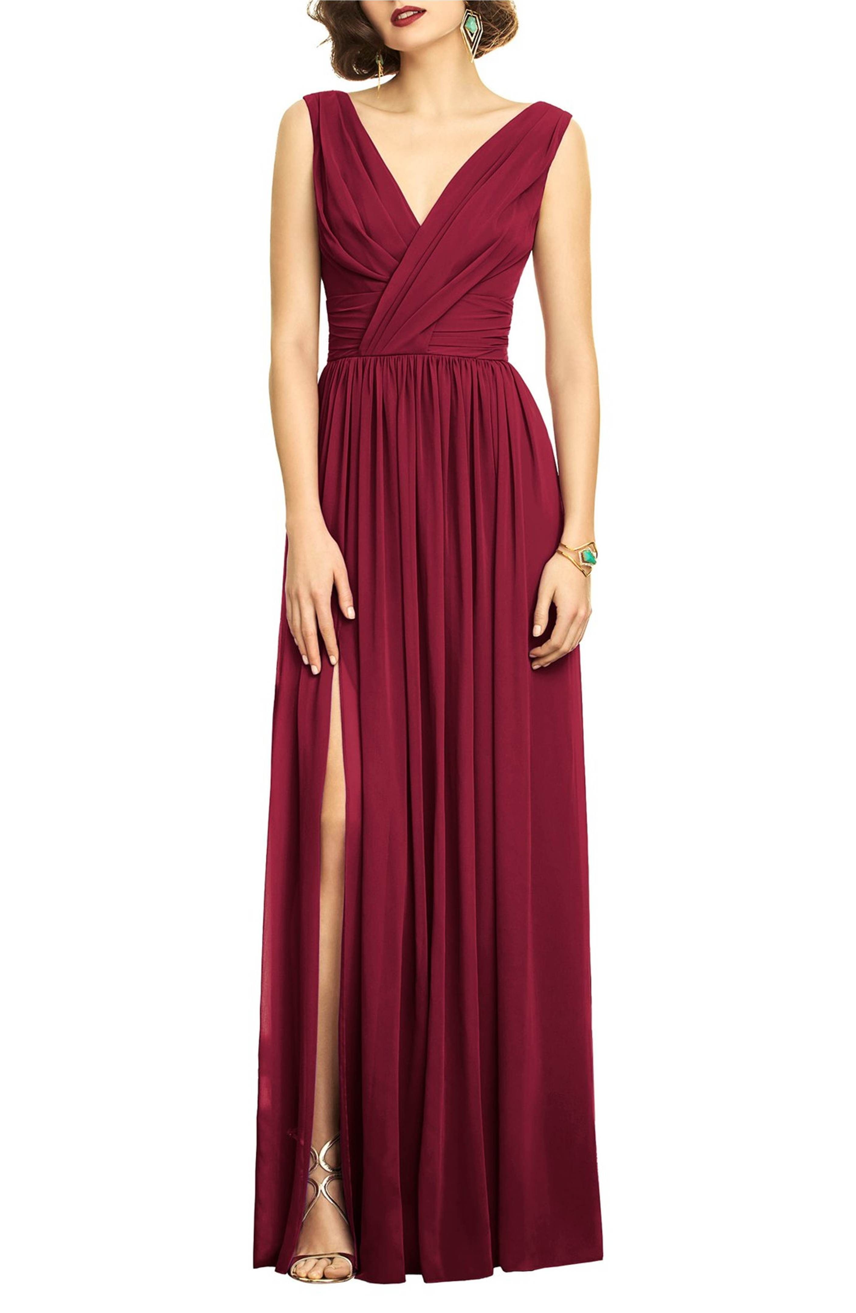 Surplice Ruched Chiffon Gown | Chiffon gown, Gowns and Hollywood glamour