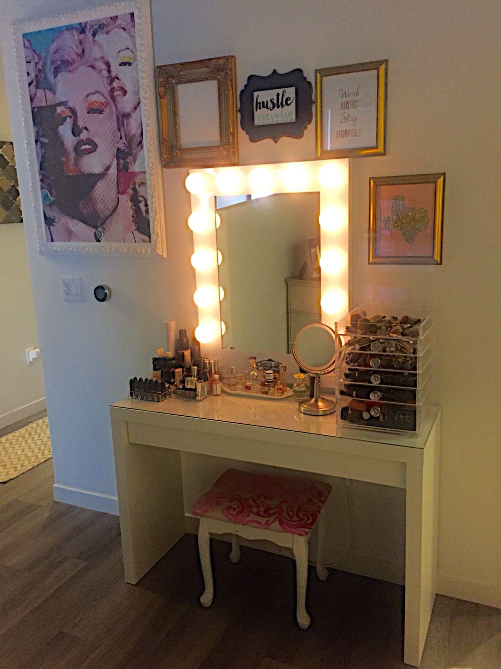 Hollywood Style Makeup Vanity Using IKEA Desk And Vanity Girl Mirror