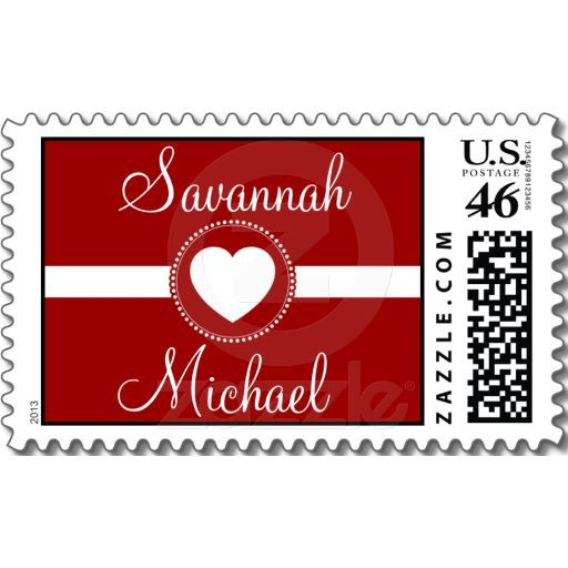 Personalized Names Heart Red Wedding Stamp   Zazzle com
