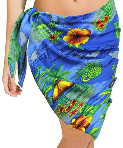 LA LEELA Shawls Scarves Scarf for Face Cover Womens Plus Size Beach Cover Up Pareo Canga Swimsuit Sarong Half Short