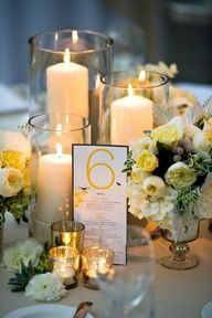 With Wider And Bigger Candles (and Flower Refer To Other Pin On Final  Wedding Details.which Is Low Centerpieces).glass Has To Be Around The  Candles (fire ...