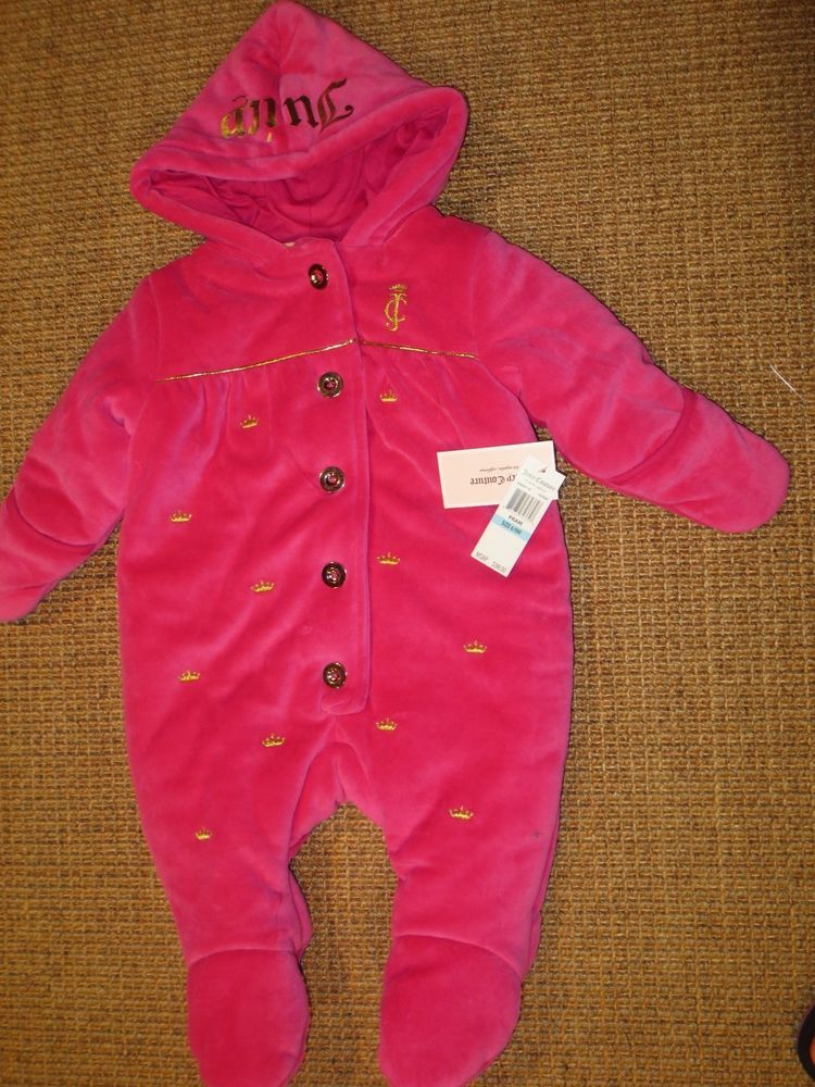 08e17180b JUICY COUTURE BABY GIRL 6 - 9 MONTH OUTFIT PRAM SNOWSUIT VELOUR PINK $98  TAG #JuicyCouture #Snowsuit