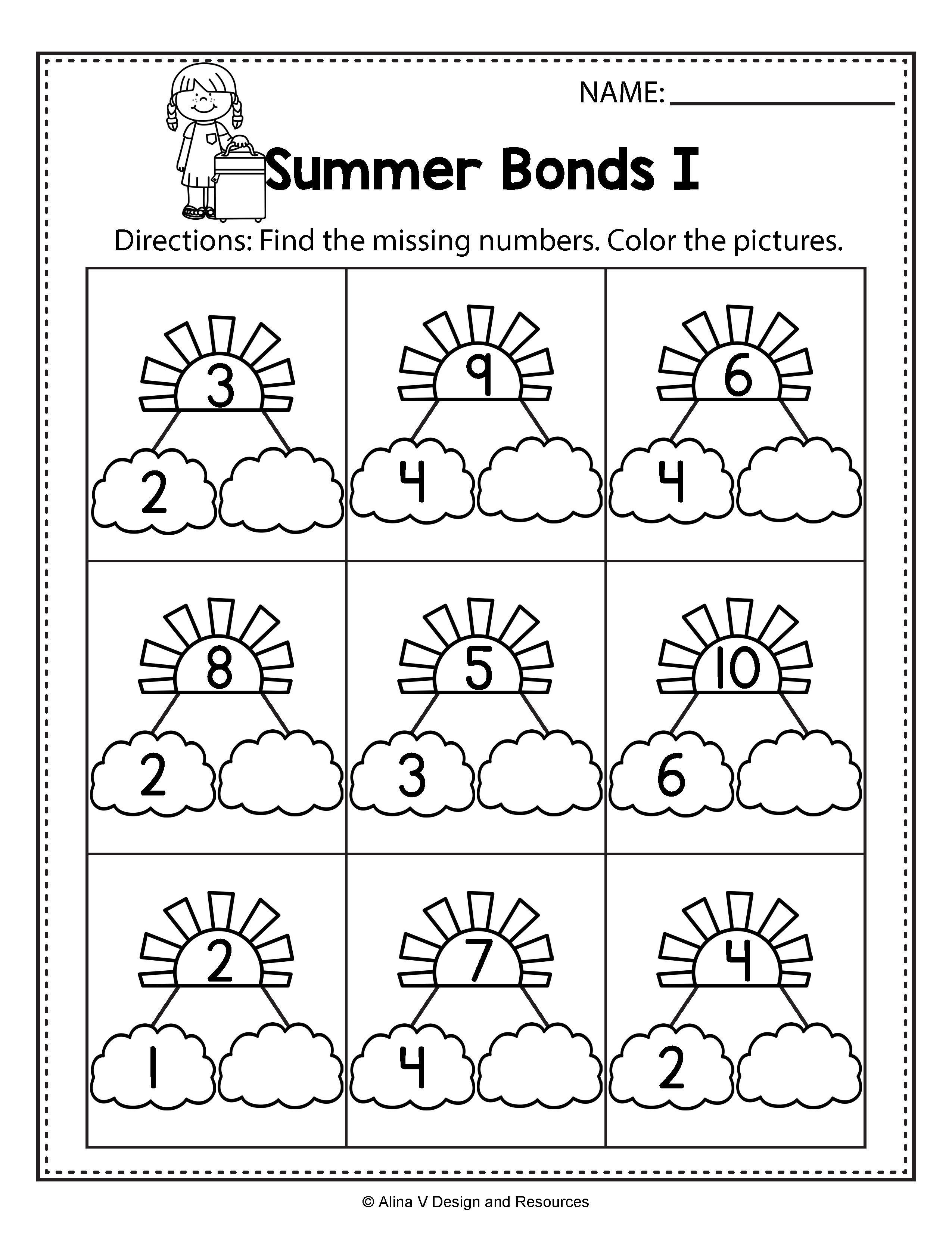 Summer Bonds write the missing numbers - Summer Math Worksheets an…    Kindergarten spring math worksheets [ 3300 x 2550 Pixel ]