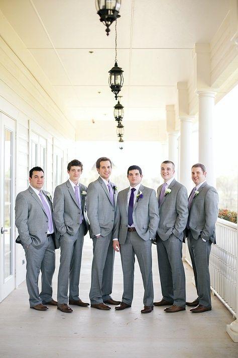 purple and grey wedding- groomsmen, grey suits, gingham ... | My ...