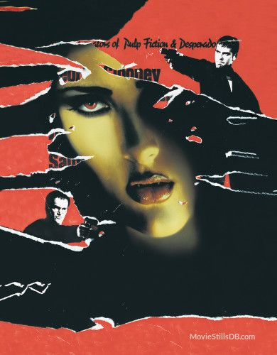 From Dusk Till Dawn Promotional Art With George Clooney Quentin Tarantino Salma Hayek Dusk Till Dawn Dawn Movie Dusk