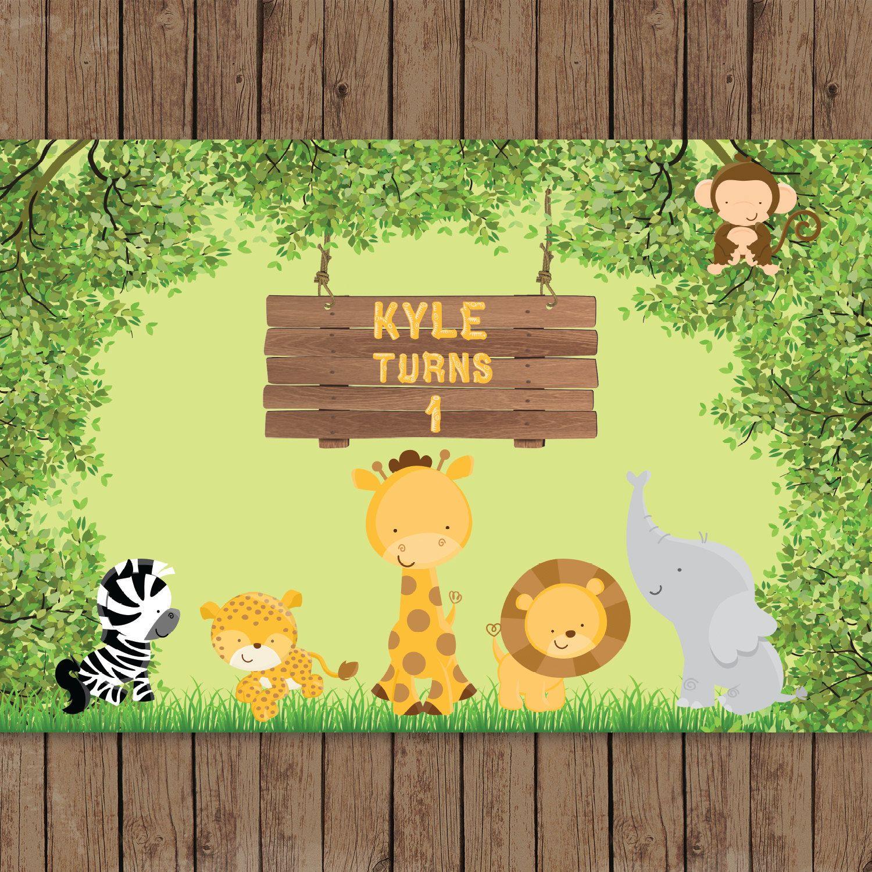Safari Jungle Zoo Animals Baby Shower 1st Birthday