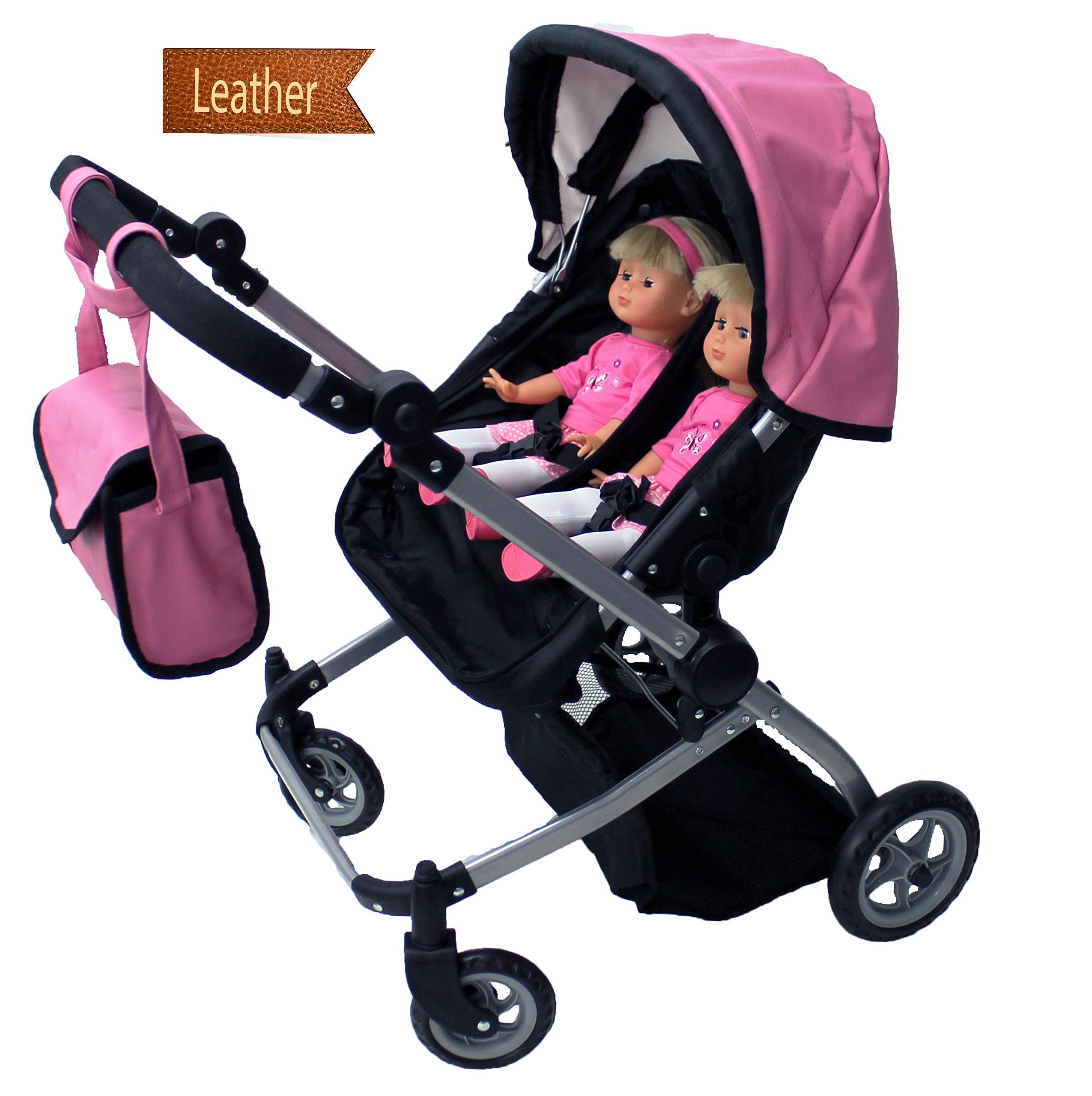 Double Dolls Pram Amazon Twin Baby Dolls Stroller For Girls Leather Baby Carriage