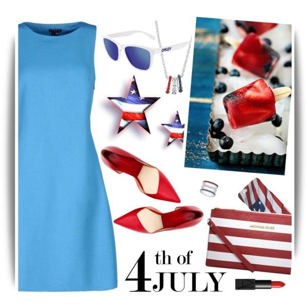4th JULY-Red, White and Blue by ansev on Polyvore featuring Theory, Oakley, NARS Cosmetics and redwhiteandblue