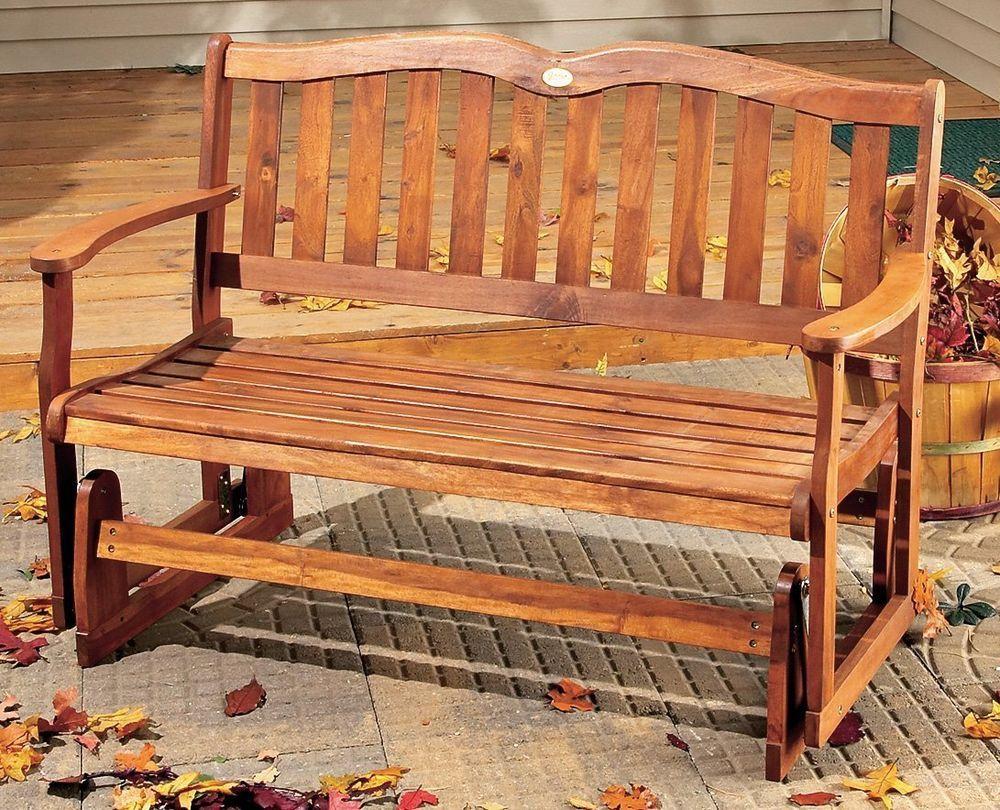 Superb Outdoor Wood Glider Bench 2 Person Patio Porch Deck Sunroom Ibusinesslaw Wood Chair Design Ideas Ibusinesslaworg