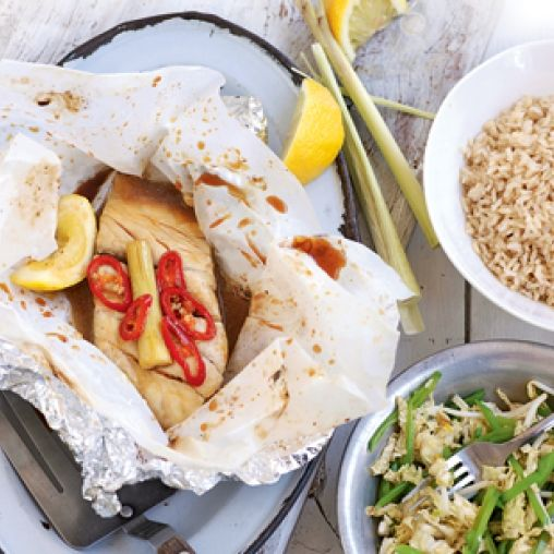 Lemongrass Fish Parcels With Shredded Cabbage Salad Recipe