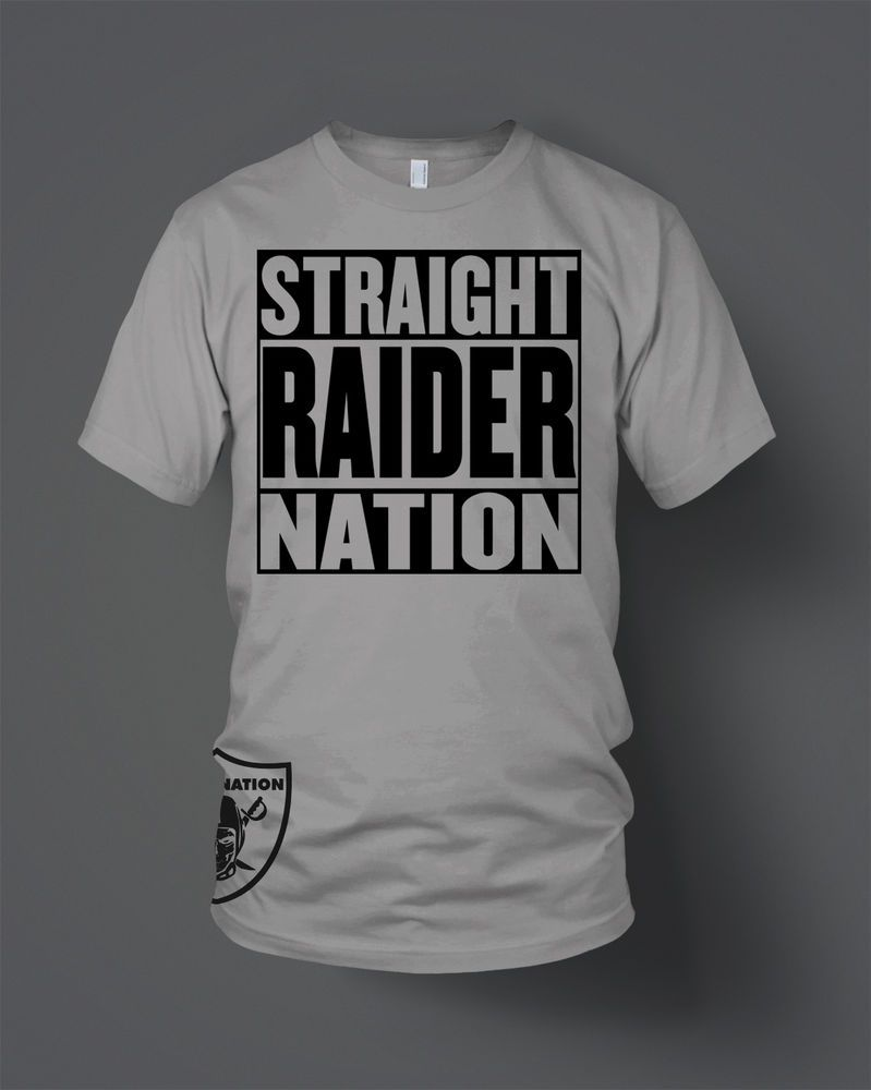 Straight Raider Nation T-Shirt (New) Oakland Raiders Silver   Black in  Clothing feea6e6a2