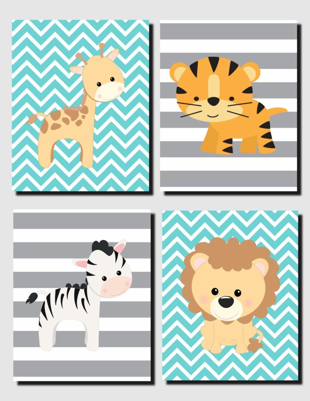 Nursery Decor, Nursery Art, Teal Gray Wall Art, Jungle