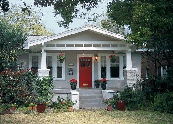 painted grey brick house | painted gray brick, white trim, red