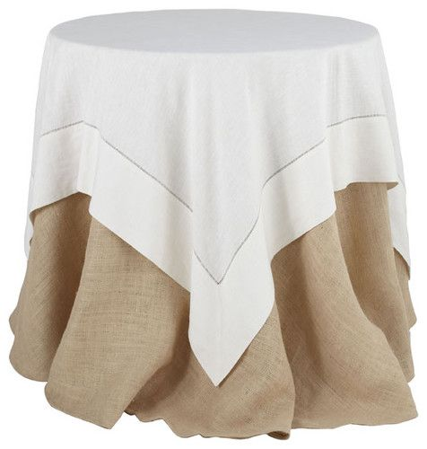White Linen Hemstitch Overlay Tablecloth Cheaper Rectangle