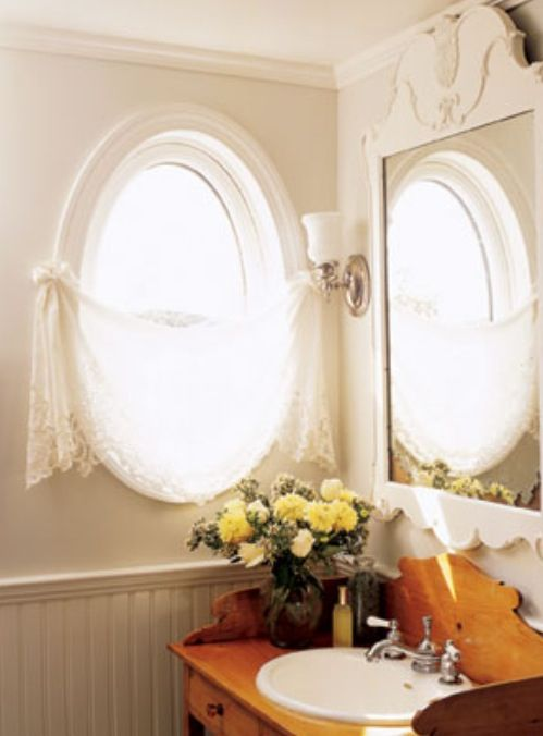 Oval window treatment oval window treatments pinterest for Window treatment for oval window