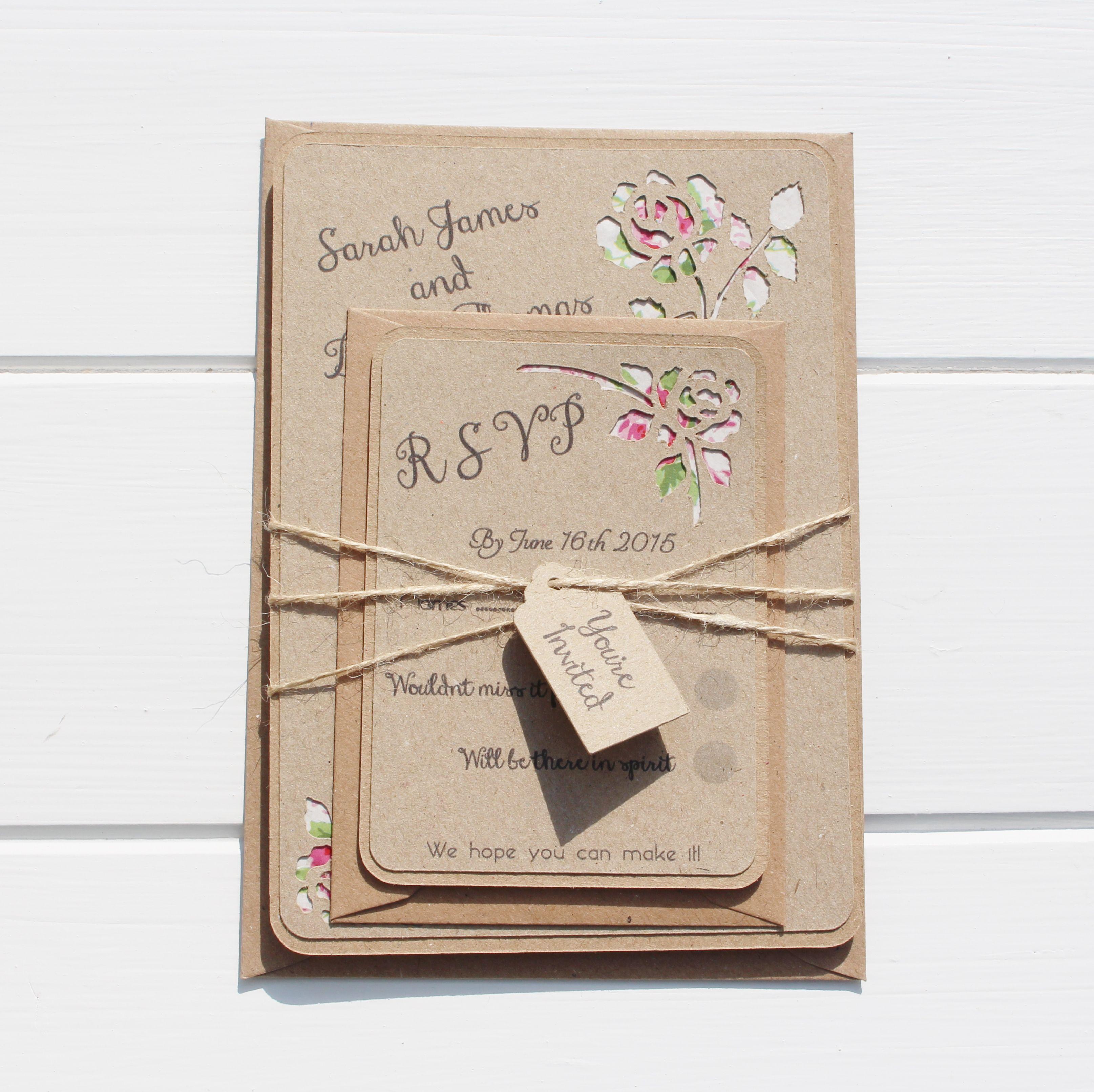 Rustic Rose Wedding Invitation, Country Wedding, Floral Wedding ...