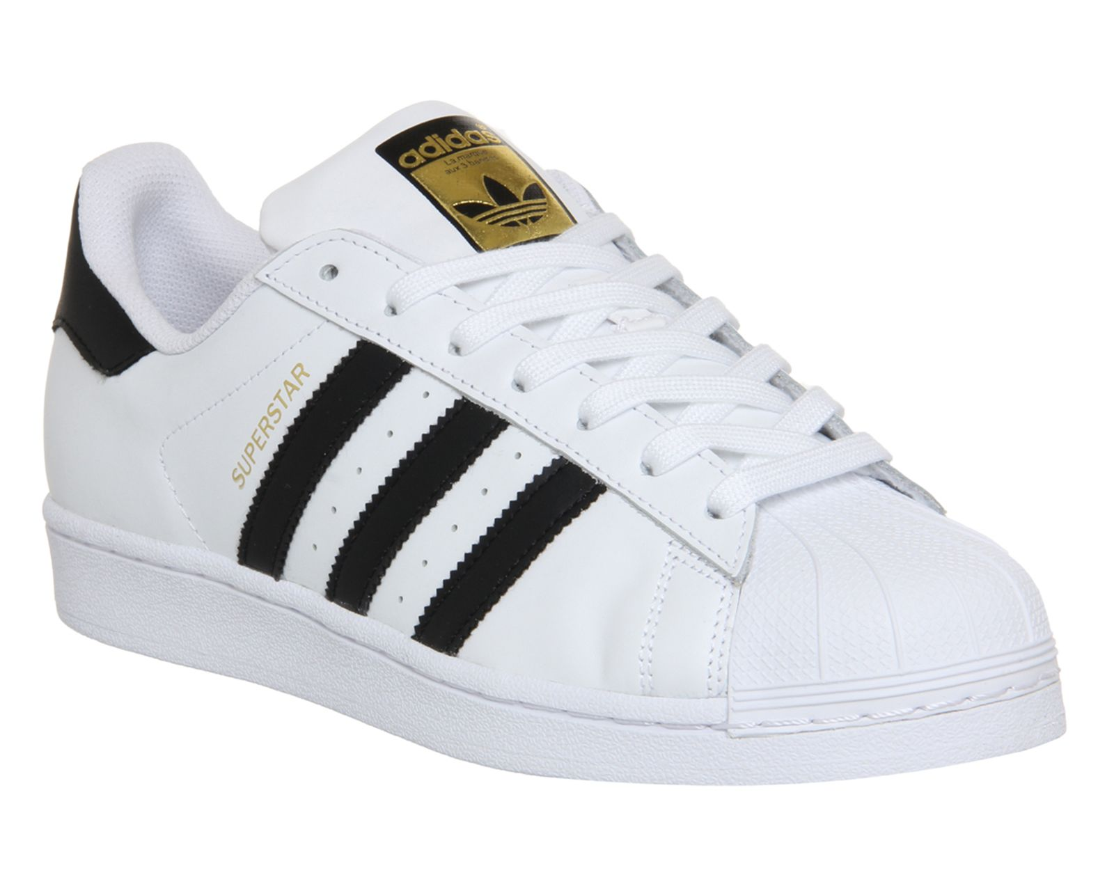 Adidas Super Star (GS) White Black Gold Women/Boys/Girls Trainers All Sizes