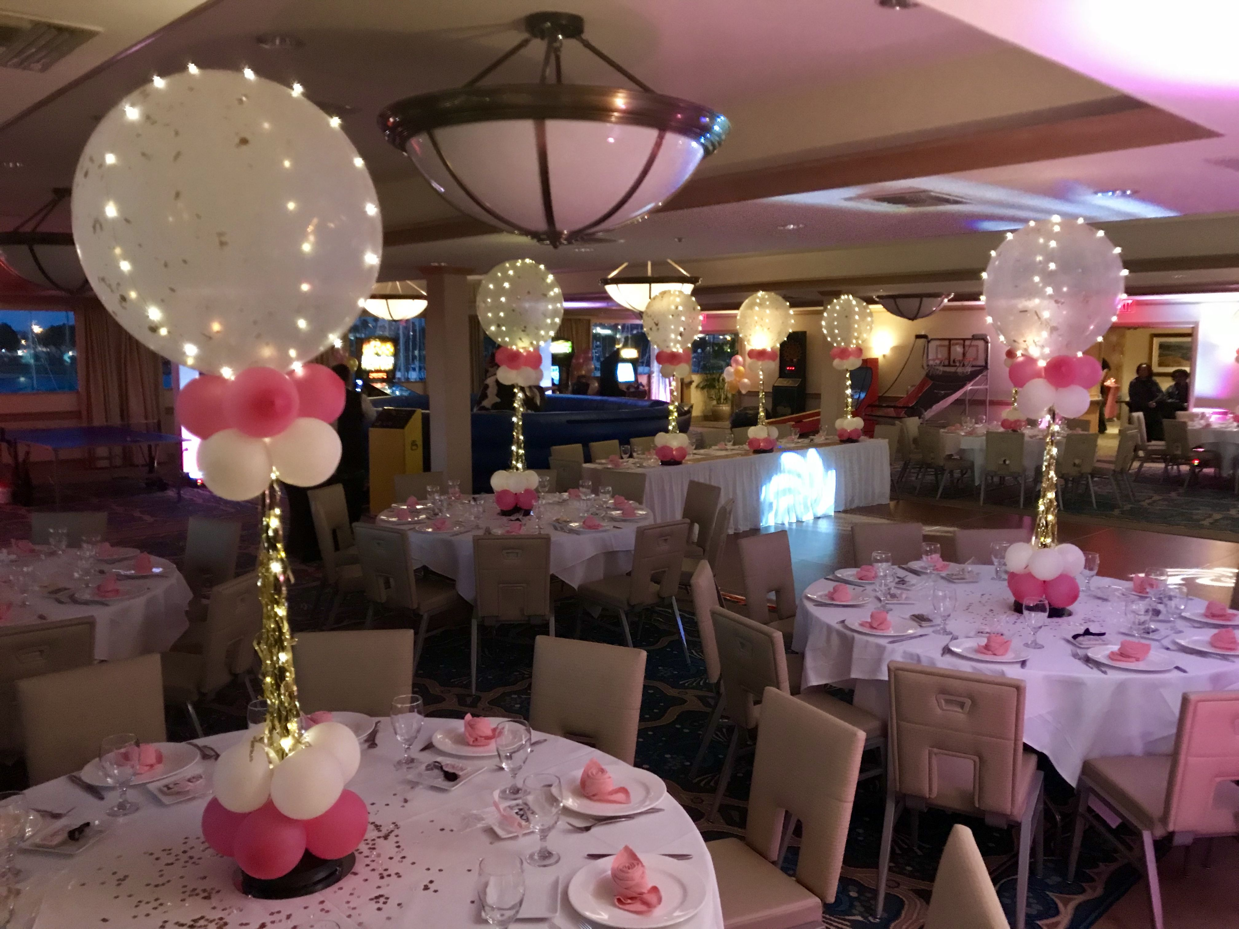 Jumbo Balloon Centerpieces With Lights Pink And Gold Party Ideas Sweet 16 Party Ideas Cool Centerp Sweet 16 Centerpieces Jumbo Balloons Balloon Centerpieces
