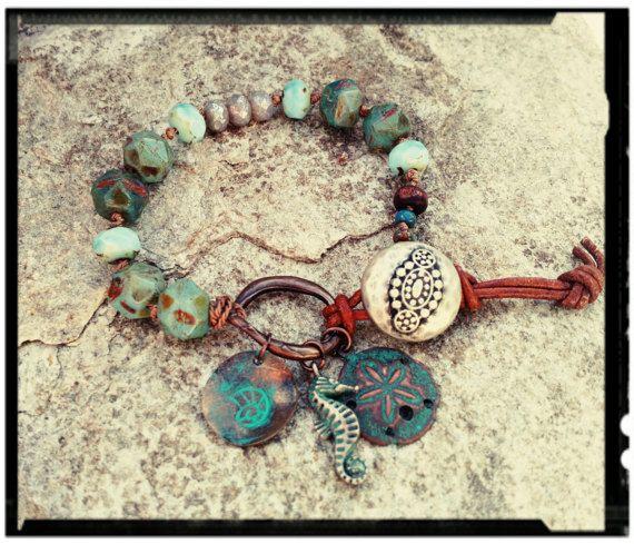 Boho Beach  Beaded Bracelet/Charms/Beach Theme by BlueReefBoutique